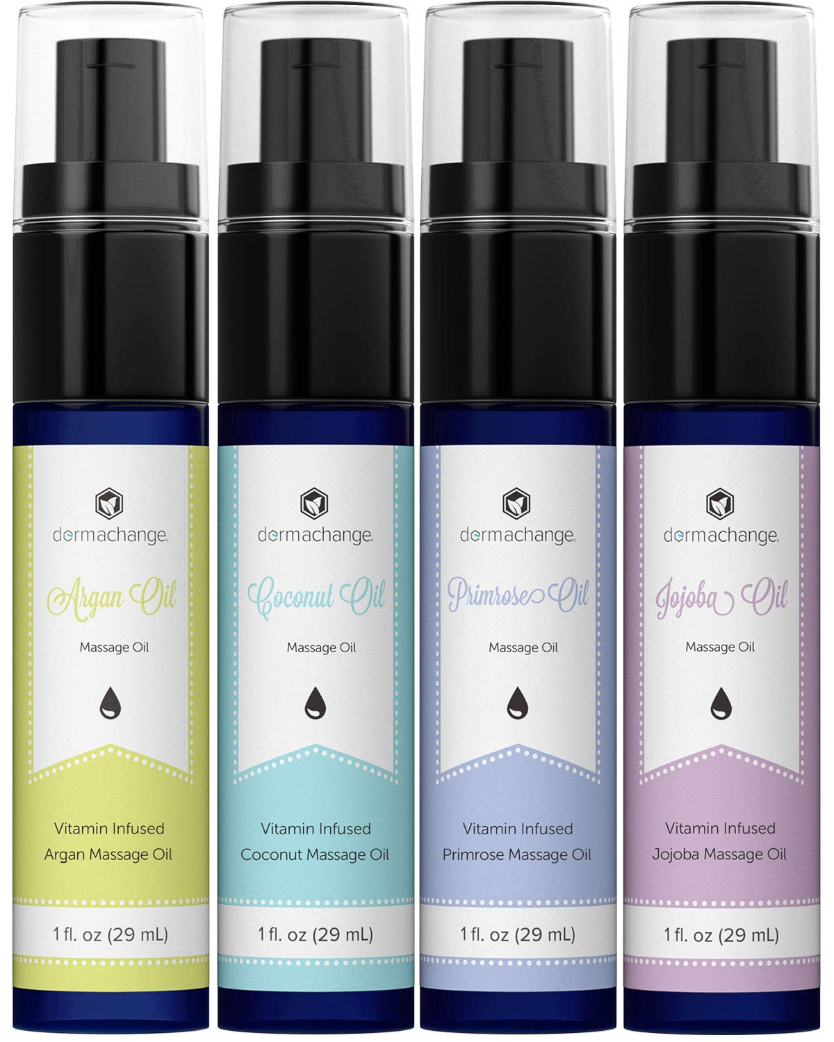 Natural Massage Therapy Oil Set - Infused with Organic Aromatherapy and Essential Vitamins - Coconut, Jojoba, Evening Primrose and Argan Carrier Oils - Muscle Pain Relief - Unscented Moisturizer (1oz)