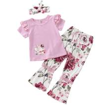 ZOEREA Baby Girls Clothes Outfits, Infant Toddler Floral Pants Set Long Sleeve Ruffle Tops Set