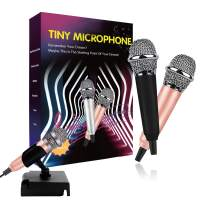 Mini Microphone(2PCS), Tiny Microphone, Karaoke Microphone/Pet Sniffing Microphone With mic stand for Man/Pet Voice Recording Shouting and sing (Black&Gold)