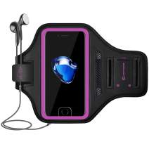 LOVPHONE iPhone 7/8 Plus Armband, Man/Women Running Sport Armband for iPhone 7/8 Plus Suitable for Gym Workout w/Kickstand Key Bag Earbuds Holder Card Slot Case, Water Resistant (Rosy)