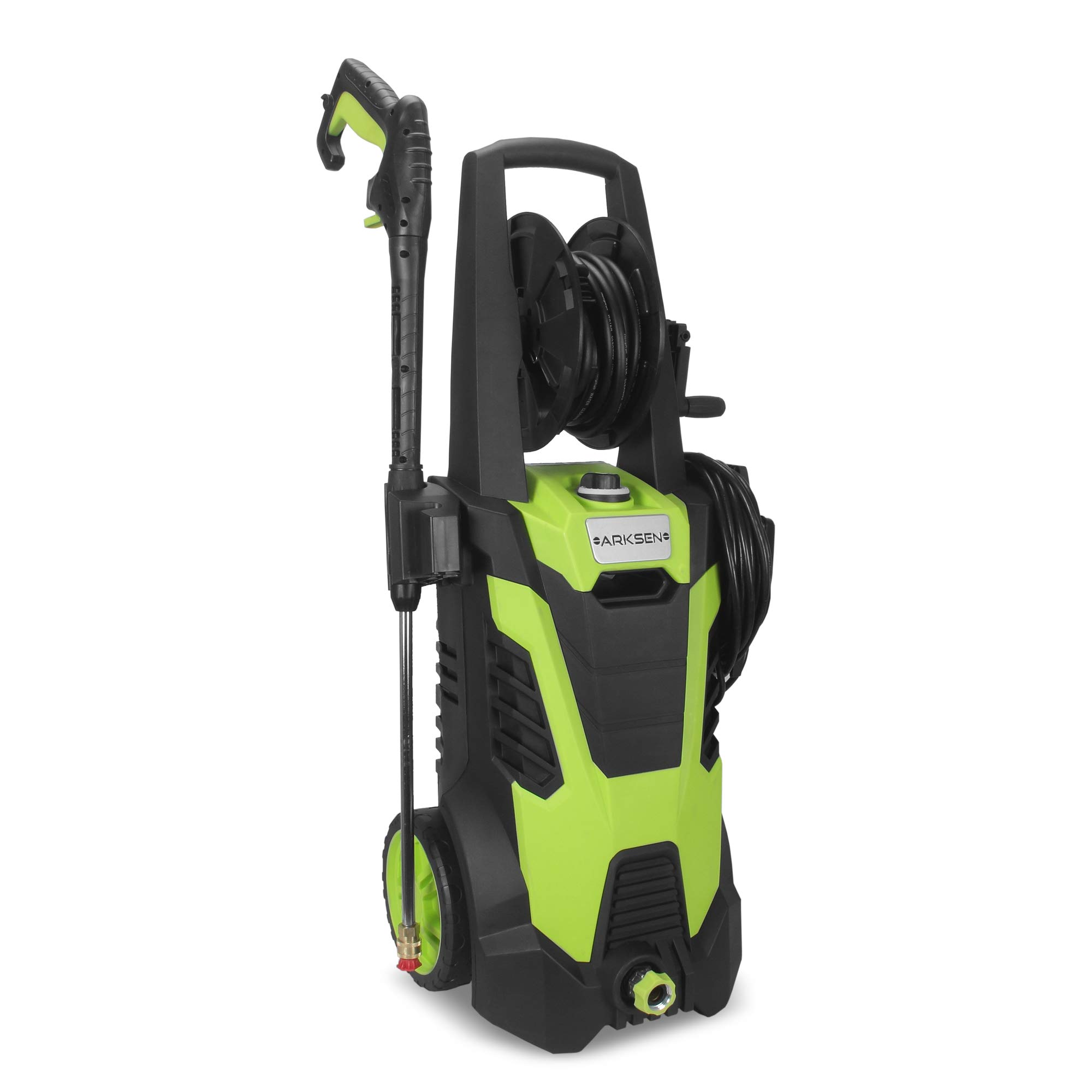 Arksen 3000 PSI 1.7 GPM 14.5 AMP Electric Pressure Washer with (5) Nozzle Adapter with Hose Reel, Green