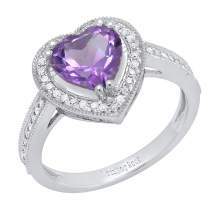 Dazzlingrock Collection 14K White Gold 8 MM Heart Gemstone & Round White Diamond Bridal Engagement Ring