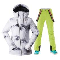GSOU SNOW Women's Ski Jacket and Pants with High Waterproof Snowboard Jacket Suits
