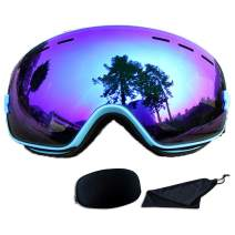 Rongbenyuan Ski Snow Snowboard Goggles - Frameless OTG Goggles Men Women Kids Anti-Fog