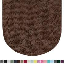 Gorilla Grip Original Luxury Chenille Oval Bath Rug Mat, 42x24, Extra Soft and Absorbent Large Shaggy Bathroom Rugs, Machine Wash Dry, Plush Carpet Mats for Tub, Shower, and Bath Room, Brown