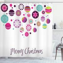 """Ambesonne Christmas Shower Curtain, Colorful Graphic Baubles with Retro Snowflake Ornaments Celebration Hand Writing, Cloth Fabric Bathroom Decor Set with Hooks, 84"""" Long Extra, Pastel Pink"""