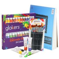 glokers Premium Watercolor Paint Set Bundle with Canson XL Watercolor Pad + 24 Paint Tubes/Colors + 10 Professional Paintbrushes - Painting Art Kit for Adults, Beginners, or Advanced Students