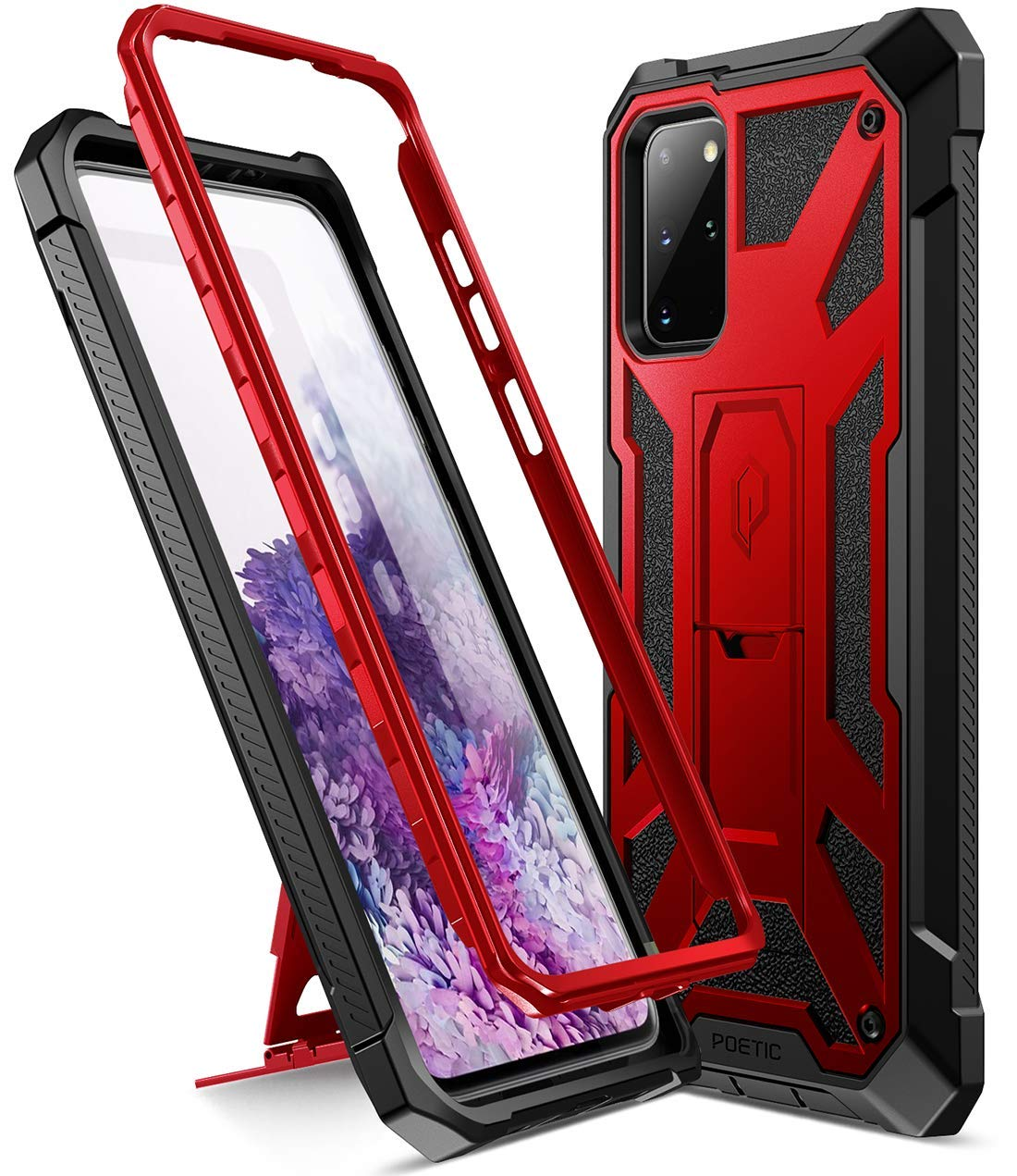 Poetic Spartan Series Designed for Galaxy S20+ Plus Case, Full-Body Rugged Dual-Layer Metallic Color Accent Premium Leather Texture Shockproof Protective Cover with Kickstand, Metallic Red