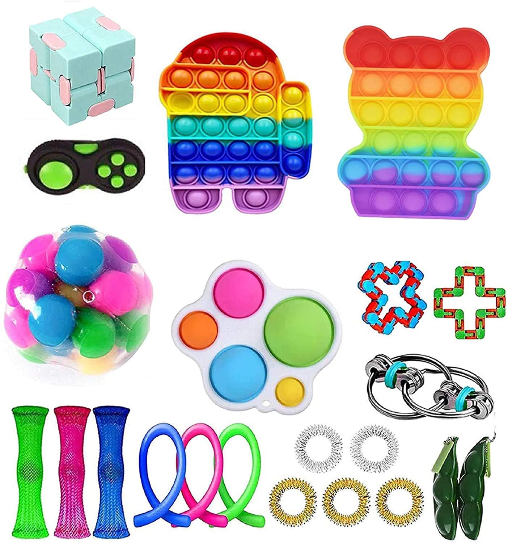 Yoskog Sensory Fidget Toys Set, Fidget Toys Pack, Cheap Fidget Toy Set, Anti-Stress Fidget Toy Set, Fidget Toy Set, Stress Relieve for Kids Adults Toy Set (Fidget Toy Set-A)