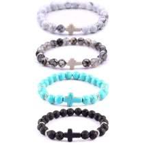 "SOFTONES 4PCS Cross Beads Bracelet for Men Women 8mm Healing Lava Stone Stretch Bracelets,7.5"" …"