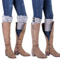 CHCING Women Winter Cable Crochet Boot Cuffs & Furry Knit Leg Warmers
