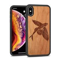 JUBECO iPhone Xs Max Wood Case, Wooden Slim Anti-Shock Shockproof Cover for iPhone Xs Max 6.5inch(Flying Fish-Cherry)
