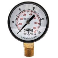 """Winters PEM202LF PEM-LF Series Pressure Gauge, 2"""" Dial size, 1/4"""" NPT, 0/100 psi/kpa, ±3-2-3% accuracy"""