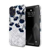 BURGA Phone Case Compatible with iPhone 11 PRO MAX - Blue Cornflower White Marble Floral Print Pattern Fashion Designer Cute Case for Women Thin Design Durable Hard Plastic Protective Case