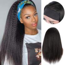 BEEOS Non Lace Headband Wig Human Hair Kinky Straight 150% Density with 5 Styles Headbands Attached for Balck Women 14 inch