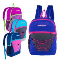 17 Inch Classic Wholesale Bungee Backpacks in Assorted Colors - Bulk Case of 24 Bookbags
