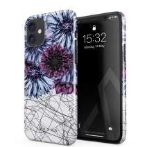 BURGA Phone Case Compatible with iPhone 11 - Dazzling Purple Dahlia Floral Print Pattern Doodle Cute Case for Women Thin Design Durable Hard Plastic Protective Case