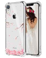 Hepix Floral iPhone XR Case Cherry Blossom Clear XR Cases, Soft Flexiable Protective Cover Cases TPU Frame Anti-Scratch Shock Absorbing Case