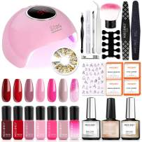 Modelones Gel Polish Kit with UV light - Red Pink Series 7 Colors Gel Nail Starter Kit with 36W UV LED Nail Lamp, Home Manicure Tools, No Wipe Top and Base Coat, Nail Studs Decorations