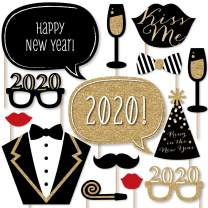 Big Dot of Happiness New Years Eve Party - Gold - 2020 New Year's Photo Booth Props Kit - 20 Count