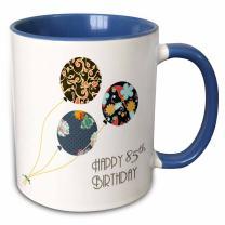 "3dRose mug_162026_6""Happy 85Th Birthday Modern Stylish Floral Balloons. Elegant black Brown Blue"" Two Tone Blue Mug, 11 oz, Blue/White"