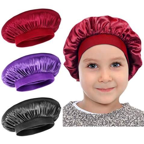 Satin Sleep Cap - 3 Pieces Kids Hair Bonnet Elastic Wide Band Hat Night Hat Hair Loss Cap For Salon Sleep Spa