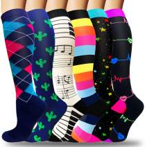 Compression Socks for Women & Men Circulation - Best Knee High Stockings for Running,Athletic,Hiking,Cycling,Travel Flight