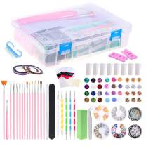 Selizo 99 Packs Nail Art Tools Kit Includes Rhinestones for Nails, Nail Crystals Charms, Nail Art Brushes and Nail Tools for Acrylic Nail Design Decorations Supplies, with Gift Box