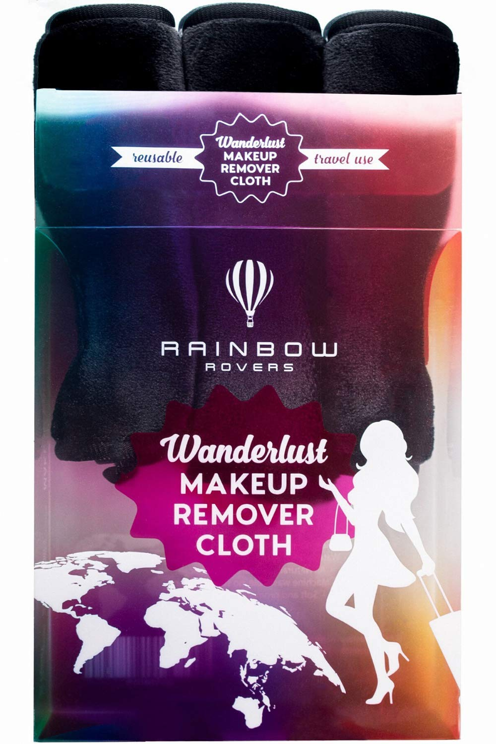 RAINBOW ROVERS Set of 3 Makeup Remover Cloths | Reusable & Ultra-fine Makeup Towels | Suitable for All Skin Types | Removes Makeup with Water | Free Bonus Waterproof Travel Bag | Chic Black