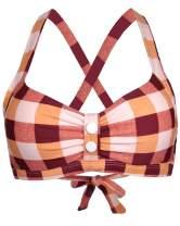 Balasami Women's Retro Button Down Gingham Printed Ajustable Straps Cross Back Vintage Swimsuit Top