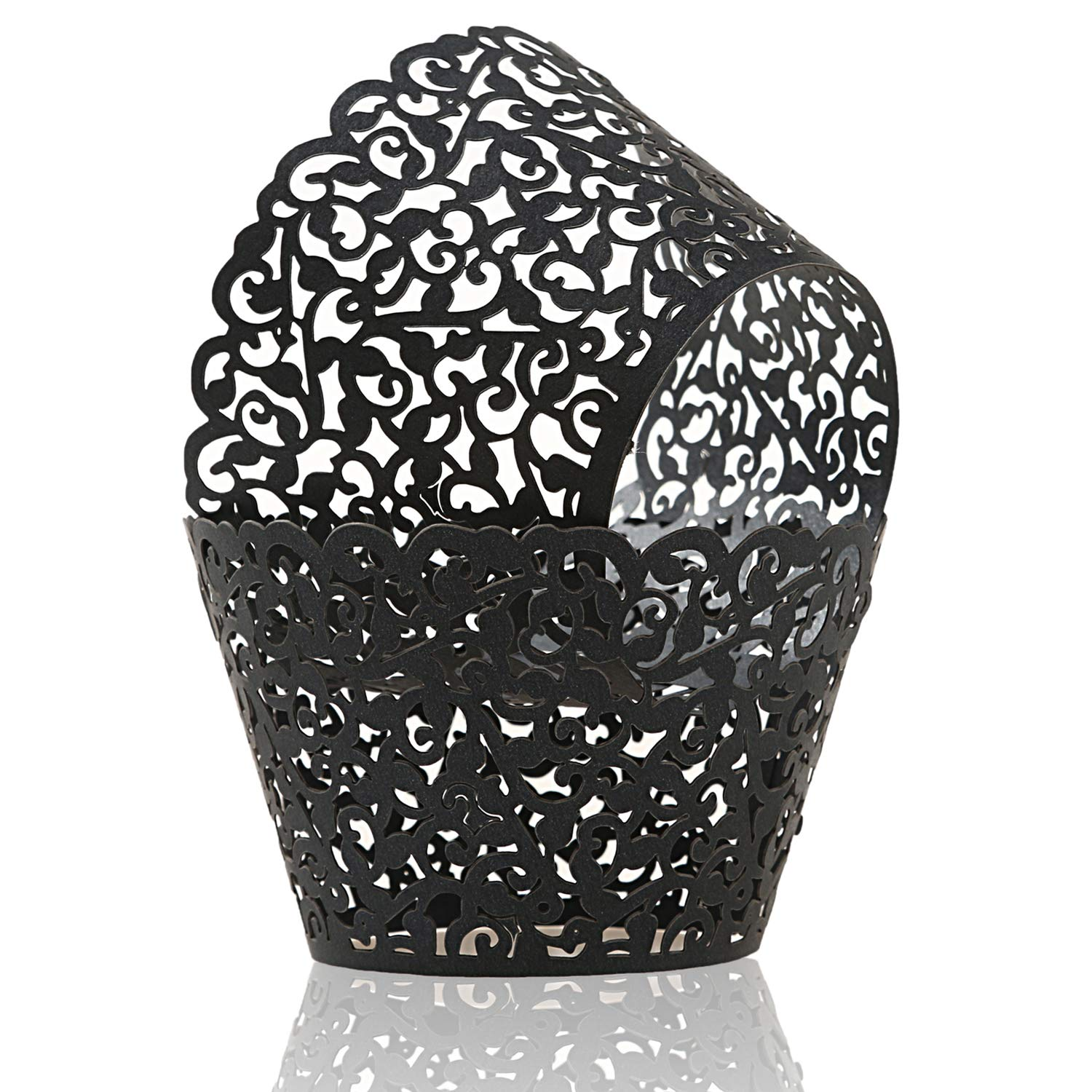 KPOSIYA Pack of 120 Cupcake Wrappers Artistic Bake Cake Paper Cups Vine Designed Laser Cut Cupcake Wraps Baking Cup Muffin Case Trays for Wedding Baby Shower Party Birthday Decoration (120, Black)