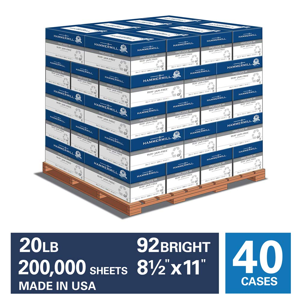 Hammermill Great White 100% Recycled 20lb Copy Paper, 8.5x11,40 Case Pallet, 200,000 Total Sheets, Made in USA, Sourced From American Family Tree Farms, 92 Bright, Acid Free, Printer Paper, 086790P