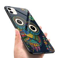 LANYOS Compatible iPhone 11 Pro Max Case, Ultra-Thin Tempered Glass Pattern Painted Back Cover + Soft TPU Bumper Frame (6.5 inch 2019) (Owl)