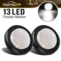 "Partsam 2Pcs 2.5 Inch Round White Led Side Marker and Clearance Lights Reverse Backup Lights 13 Diodes Grommets/Pigtails Waterproof 2.5"" Round White Interior Courtesy Light Auxiliary Utility Light"