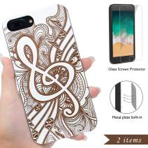 iProductsUS Wood Phone Case Compatible with iPhone 8,7,6/6S and Screen Protector, White Wooden Cases Engraved Music Sign Pattern,Built-in Metal Plate,TPU Rubber Protective Covers (4.7 inch)