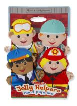 Melissa & Doug Jolly Helpers Hand Puppets - The Original (Set of 4, Construction Worker, Doctor, Police Officer, Firefighter, Great Gift for Girls & Boys - Kids Toy Best for 2, 3, 4, 5, 6 Year Olds)