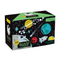"""Mudpuppy Outer Space Glow-in-the-Dark Puzzle, 100 Pieces, 18""""x12"""", Made for Kids Age 5+, Illustrations of Planets, Stars, Spaceships and More, Award-Winning Glow in the Dark Puzzle"""