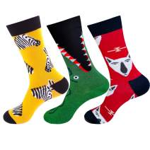 Dress Socks for Men Women-2019 New Design 3 Pack Colorful Funny Crew Fashion Casual Socks Cool Pattern Fanky Socks
