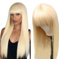 Ali panda 613 Blonde Human Hair Wigs with Bangs 150% Density None Lace Front Wigs for Black Women Glueless Brazilian Straight Wigs Full Machine Made Wigs (16inch, 613 wigs with bangs)