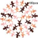 180 Pieces Mini Plastic Babies 1 Inch Baby Doll for Baby Shower Party Favors, Party Decorations, Baby Bathing and Crafting (Dark Brown, Latin, Pink)