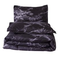 NTBED Marble Comforter Sets Queen Black 3-Pieces Lightweight Microfiber Bedding Soft Printed Quilt with 2 Pillow Shams