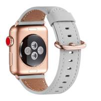 WFEAGL Compatible iWatch Band 40mm 38mm,Top Grain Leather Band with Gold Adapter(The Same as Series 5/4/3 with Gold Aluminum Case in Color)for iWatch Series 5 /4/3/2/1(LightGray Band+RoseGold Adapter)