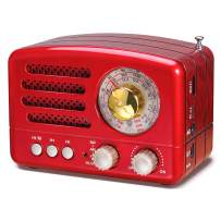 J-160 AM FM Radio Retro Bluetooth Speaker, Transistor Radio Portable Battery Operated Radio with Classical Vintage Look, Built-in USB Port, Micro-SD, AUX Input(Red)