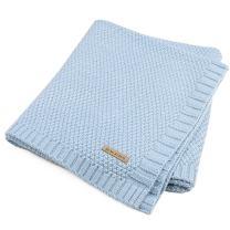 SOBOWO Baby Swaddle Blanket, Babies Knit Soft Wrap Stroller Blankets for Infant Girls Boys Cribs, Nursing (Light Blue)