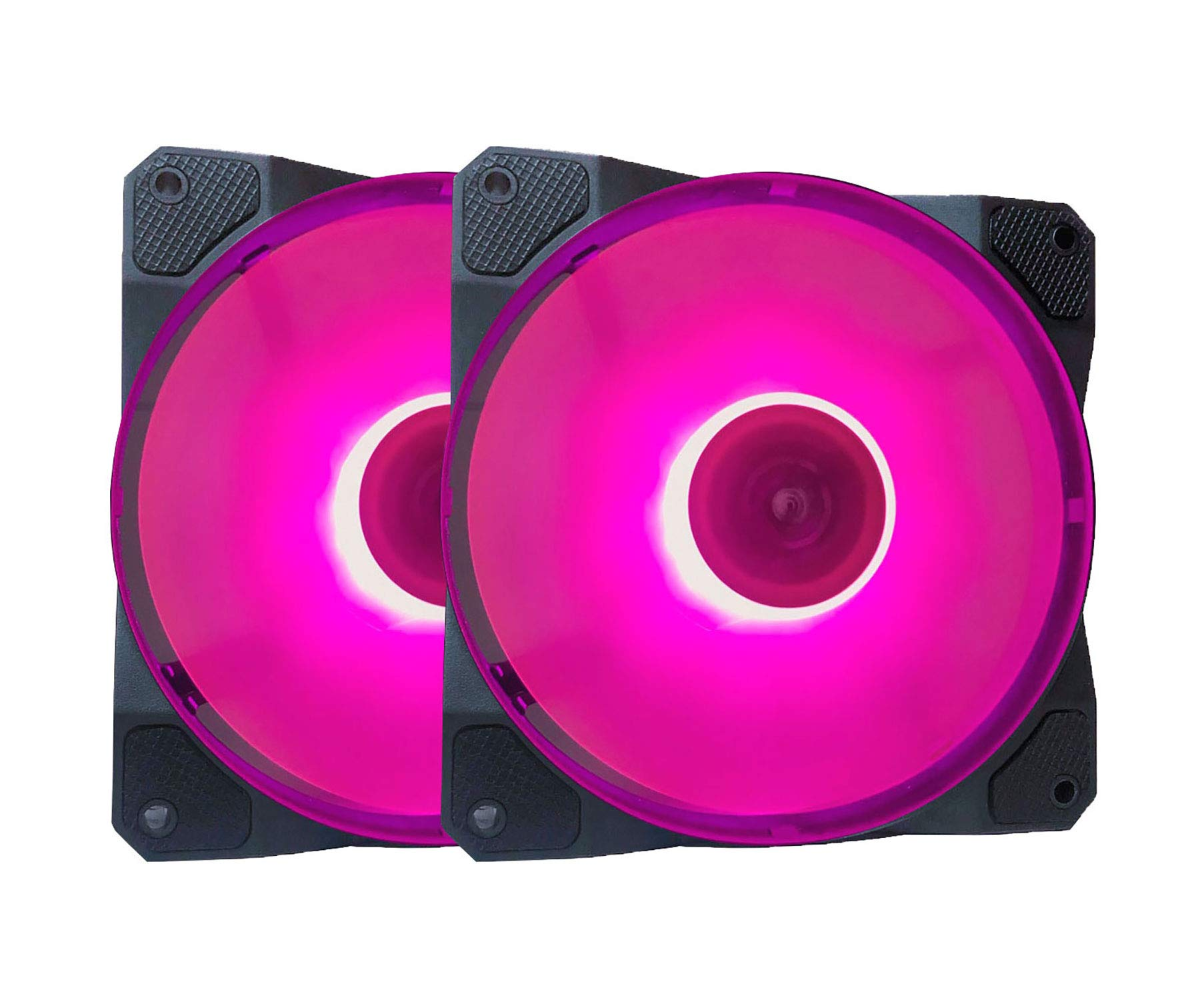 APEVIA CO212L-PK Cosmos 120mm Pink LED Ultra Silent Case Fan w/ 16 LEDs & Anti-Vibration Rubber Pads (2 Pk)