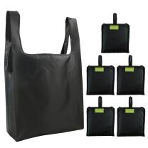 Black Grocery Bags Foldable Washable Groceries Totes Set of 5 Easily Folding into Attached Pouch Large Ripstop Polyester Reusable Bag for Shopping