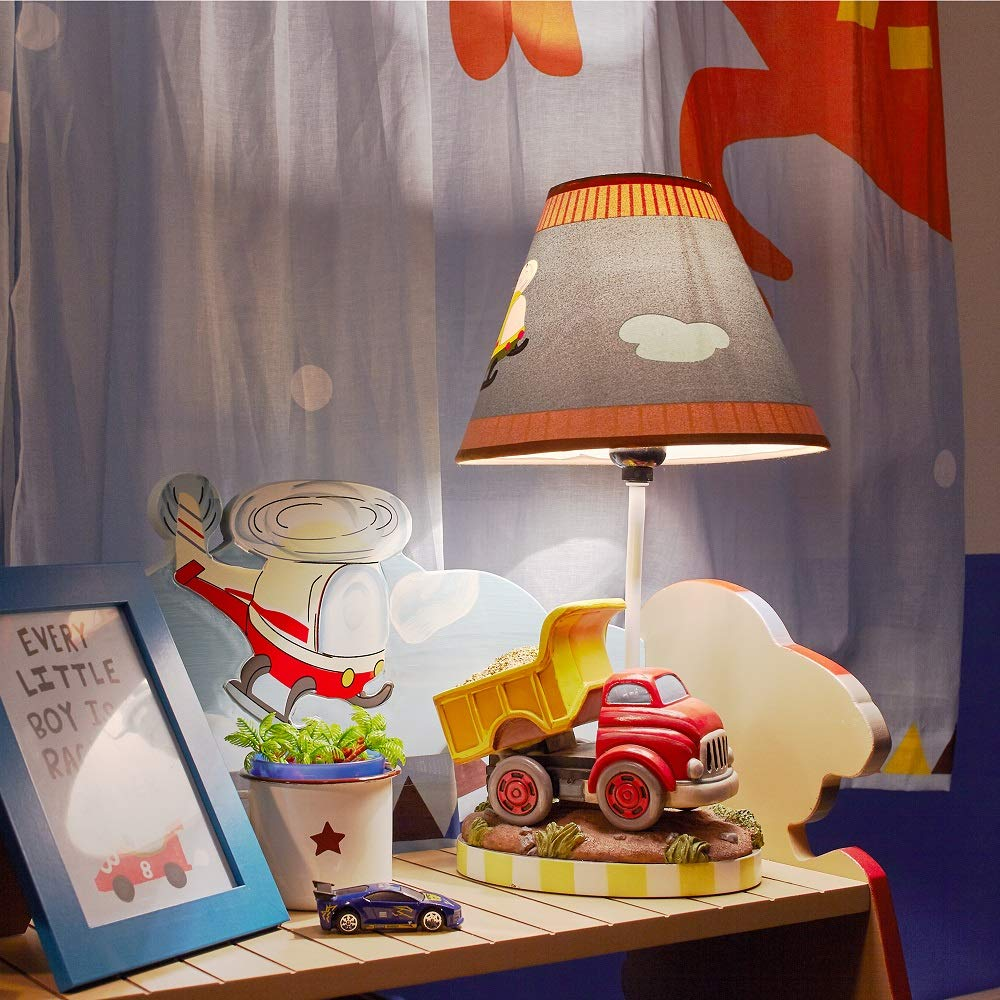 Fantasy Fields - Transportation Thematic Kids Table Lamp - Imagination Inspiring Hand Painted Details & Lead-Free Water-Based Paint for Kid's Bedroom - Red Truck