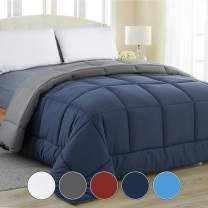 Equinox All-Season Navy Blue/Charcoal Grey Quilted Comforter - Goose Down Alternative - Reversible Duvet Insert Set - Machine Washable - Plush Microfiber Fill (350 GSM) Twin 68 x 86 Inches
