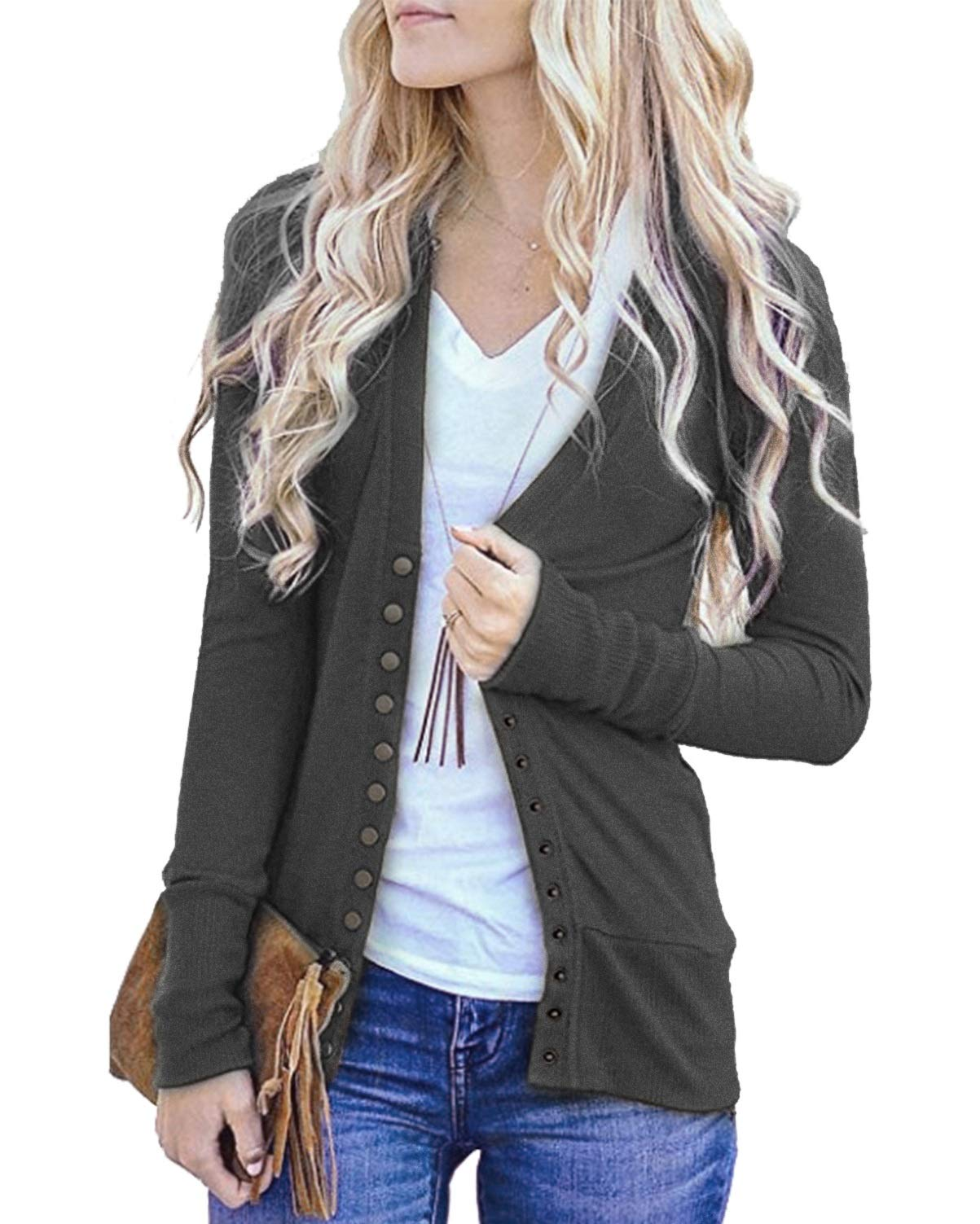 Hisweet Women's Cardigans Long Sleeve Button Down Knitting Ribbed Sweater
