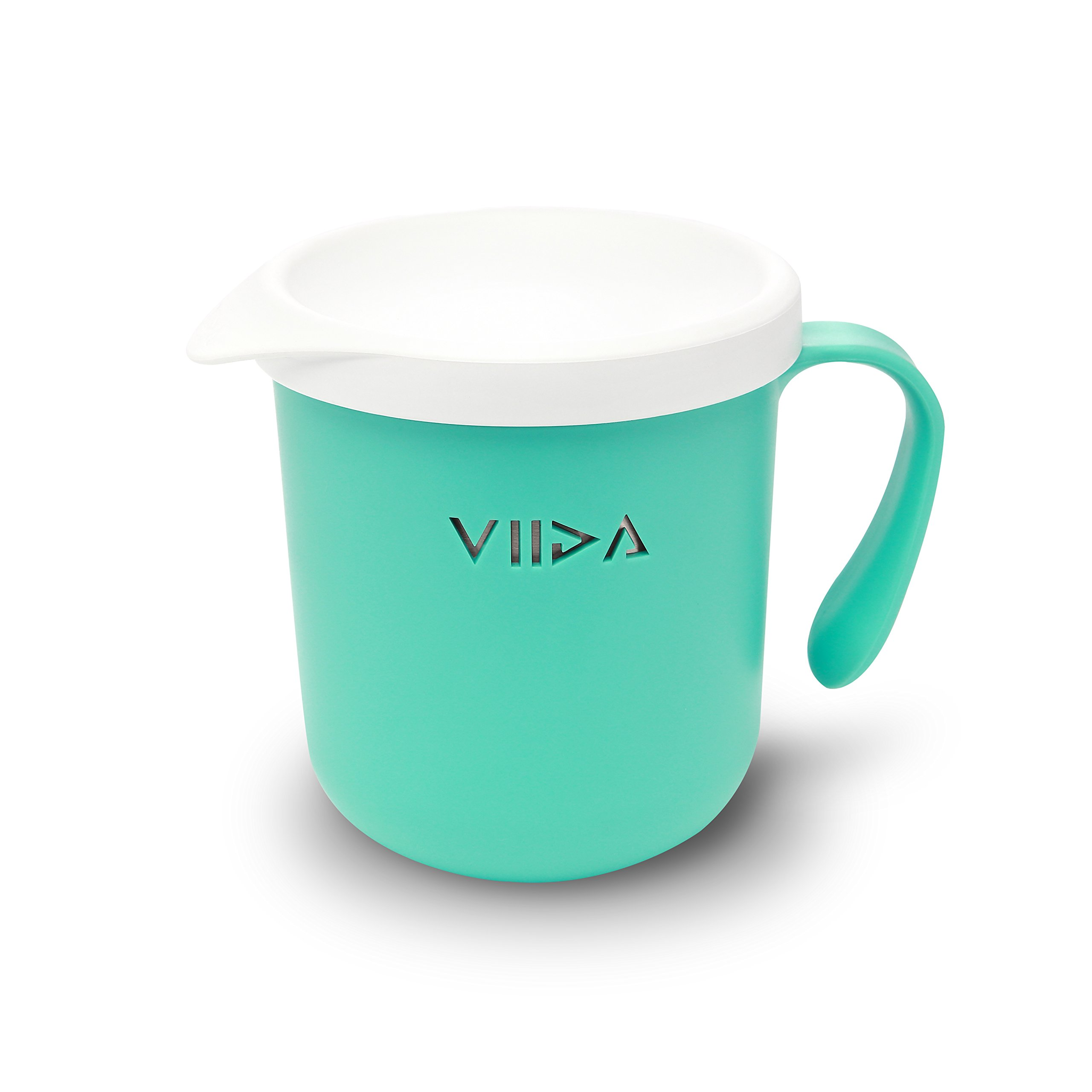 VIIDA Soufflé Cup – Stainless Steel, Detachable, Stackable, Unbreakable, with Lid – Drinking Glasses, Sippy Cup - BPA-Free, Dishwasher-Safe - for Baby, Toddlers, Kids - Turquoise Green